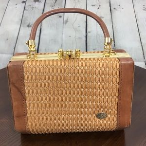 Vintage Top Handle LeatherTrim Bag Swan Collection
